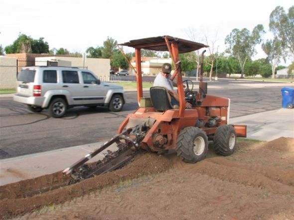 Darrin doing some trenching for a customer in Mesa Arizona