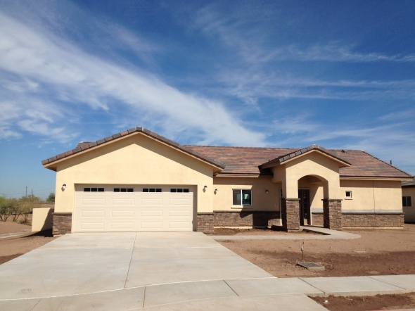 This is one of 25 Integra block houses with stone veneers that we did for the Gila River Indian Community In Laveen AZ