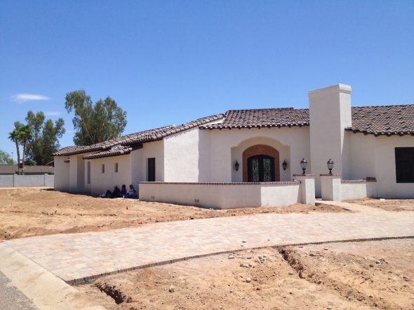 Custom Integra Block Home in Paradise Valley Arizona with a Custom Brick Fireplace